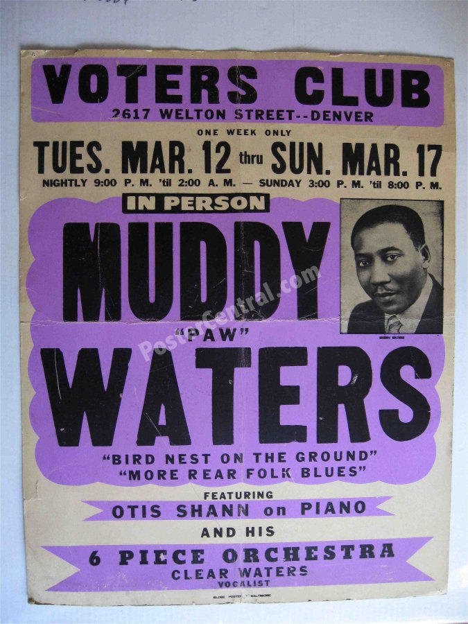 Muddy Waters 1968 Denver poster